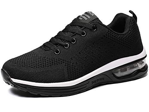 GAXmi Zapatillas Deportivas Mujer Zapatos de Malla Transpirables y Ligeros con Cordones y Cojín de Aire para Running Fitness Negro 37.5 EU (Etiqueta 39)
