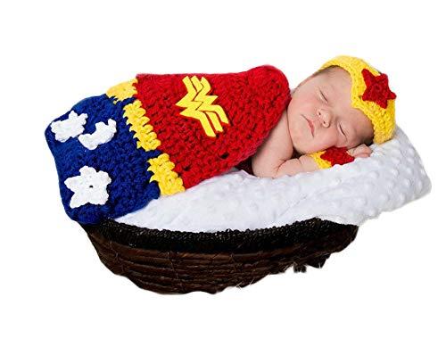 3PCS Infant Newborn Baby Girl Crochet Super Heroine Costume...