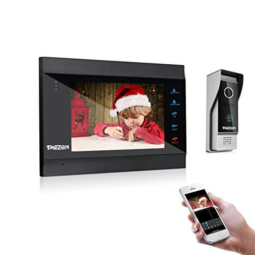 TMEZON 1080P Wifi IP Vidéo Interphone Visiophone,7 Pouce Moniteur de nouvelle version,Sonnette de Caméra Filaire Vision Nocturne,Déverrouillage à distance,Parler,Enregistrer,smartphone TuyaSmart APP