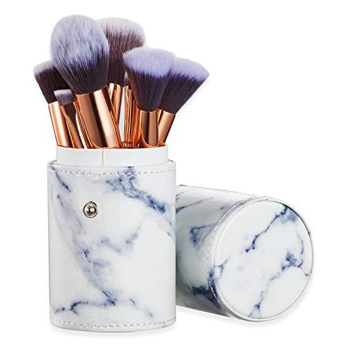 Ruesious 10PCS pennelli da trucco con marmo marmo, porta spazzolino, per cipria in polvere, Contour,...