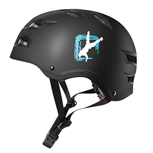 Automoness Skateboard Helm Sporthelm Erwachsene Kinder, Verstellbarer Skaterhelm Helmet Skate Fahrradhelm für Skateboard, Scooter, BMX Bike in verschiedenen Größen und Farben