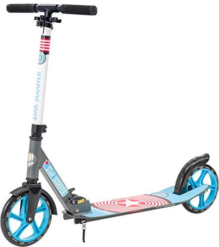 STAR SCOOTER Aluminium Kickscooter Roller Kinderroller Tretroller für Jungen und Mädchen ab 6-7 Jahre | Big 205mm Wheel mit XXL Trittbrett Scooter für Kinder und Erwachsene | Grau & Blau
