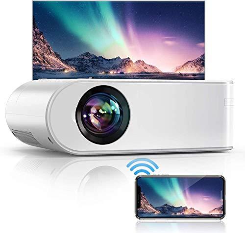 YABER Proiettore WiFi, 6000 Lumens Mini Videoproiettore Portatile 1080P Full HD[Schermo proiezione incluso]Mini Proiettore Wireless Home cinema Portatile per iOS/Android/Laptop/TV Box/PS4 ecc