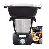 IKOHS CHEFBOT Compact STEAMPRO - Robot de Cocina Multifuncin, Cocina al Vapor, 23 Funciones, 10 Velocidades con Turbo, Bol Acero Inoxidable 2,3 L, Libre BPA (con Vaporera y Recetario - Negro)