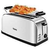 OZAVO Grille Pain Inox Baguette Automatique Toaster 4 Tranches Extra Large Fentes Croissant 1500W - 7 Niveaux Ajustable - avec Plateau de Miettes Acier - Argent