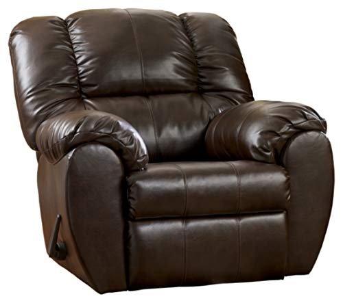 Signature Design by Ashley - Dylan Contemporary Faux Leather Rocker Recliner - One-Pull Reclining - Brown