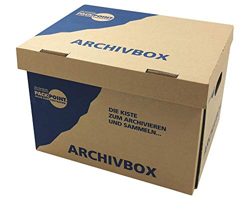 "1-PACK Archivbox Lagerbox 400x320x290mm extrem stabil, bis 250kg stapelbar/Ausführung: Braun mit Beschriftung\""Archivbox\"", 10 Stück"