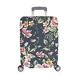 Flor de época en maletín de Maleta Spandex de Viaje Azul Marino Protector de Equipaje Maleta Cubierta 28.5 X 20.5 Inch
