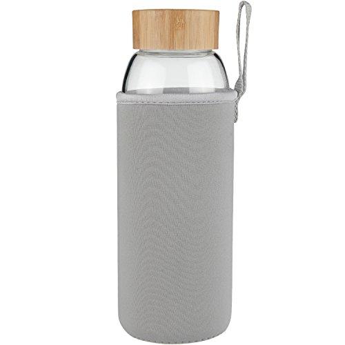 Ferexer 1 Litre Trinkflasche Glas Wasserflasche mit Bambus Deckel 1000 ml / 1 L (grau)
