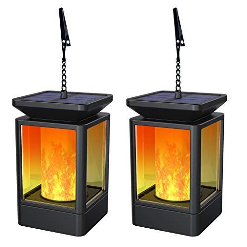 Fortand Solar Laterne Gartenlaternen Solarlaterne für außen LED Solarlaterne Garten Flammenlampe,3Mode mit Flamme Wirkung für Deko Garten Auto On/Off (2 Stück)