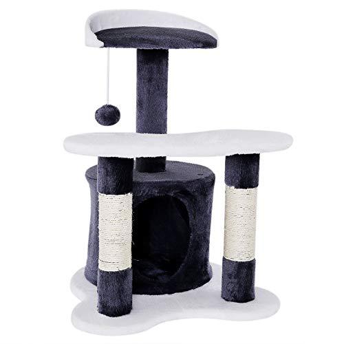 Árbol de gatos rascador para escalar Altura 65 cm gris/blanco
