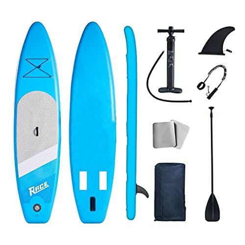 Tavola Gonfiabile Paddle Board Stand Up SUP Nero Pagaia in PVC Include Pompa Borsa da Trasporto e Accessori Surfboard Tavola Paddle con Sedile Max 120 kg