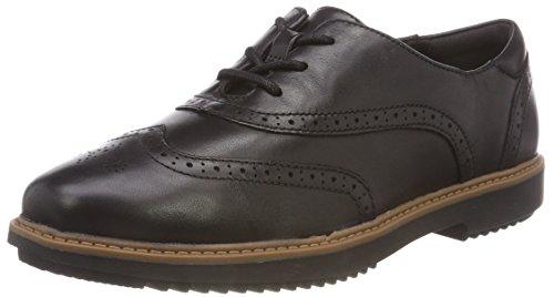 Clarks Raisie Hilde, Zapatos de Cordones Brogue para Mujer, Negro (Black), 39 EU