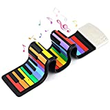 Rainbow Roll Up Piano, Uarzt 49 Keys Flexible Electronic Music Piano Keyboard, Educational Roll-Up Piano Keyboard with Loud Speaker 47 Tones Recording Function, for Beginner Christmas Gifts