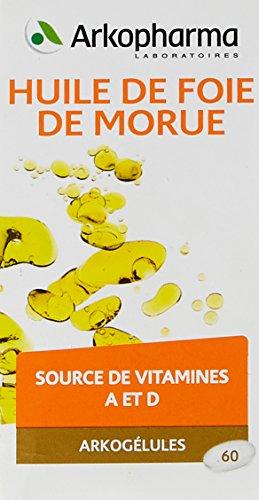 Arkopharma - Phytothérapie - Cure Huile de Foie de Morue - Source de Vitamines A et D 400 mg - 60 Capsules