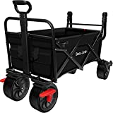BEAU JARDIN Folding Wagon Cart With Brake Free Standing Collapsible Utility Camping Grocery Canvas Fabric Sturdy Portable Rolling Buggies Outdoor Garden Sport Heavy Duty Shopping Cart Push Wagon Black