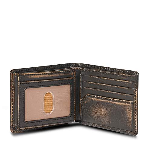 HOJ Co. SKULL Wallet-Double ID Bifold-Full Grain Mens Leather Wallet-Multi Card Capacity