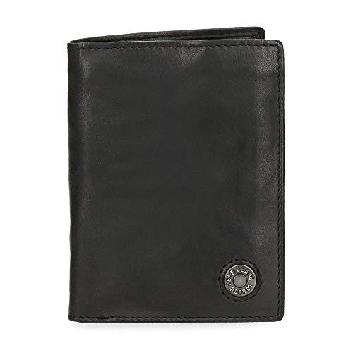 Cartera Pepe Jeans Button Vertical con Monedero, Color Negro