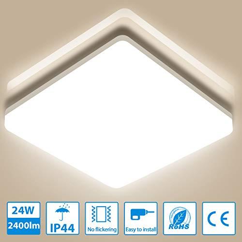 Oeegoo Deckenleuchte LED Deckenlampe 24W 2400LM, IP44 Wasserfest Badlampe Ideal für Badezimmer Schlafzimmer Küche Balkon Korridor Büro Esszimmer Wohnzimmer, 4000K Neutralweiß 33x33x4.8cm