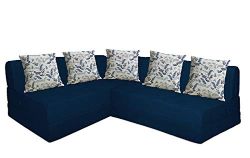Aart Store Four Seater Interchangeable L Shape Sofa Cum Bed for Family and Friends (Blue Color)