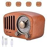 Qoosea Radio Portátil Altavoces Bluetooth Hecho a Mano Retro Estéreo de Madera Bluetooth 4.2 Mini...