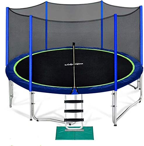 Zupapa 15 14 12 10 FT Trampoline 425LBS Weight Capacity for Kids with Safety Enclosure Net Outdoor Trampolines for Children Adults Family Backyards