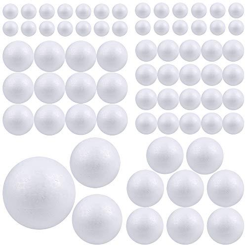 Pllieay 88 bolas de espuma blanca de 6 tamaños para manuali