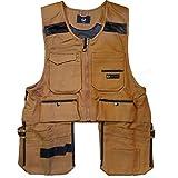 Men Work Vest Pockets Utility Vest Tool Pockets Pro (Large, Brown Duck)