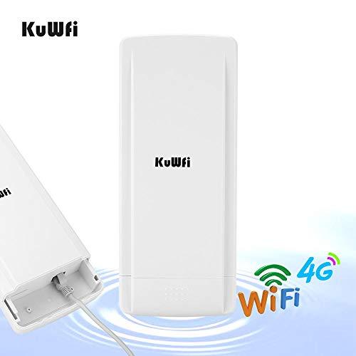 KuWFi Enrutador CPE para exteriores 4G de 150 Mbps inalámbrico CPE/puente/puerta de enlace/WISP con ranura para tarjeta SIM compatible con 32 usuarios Wifi