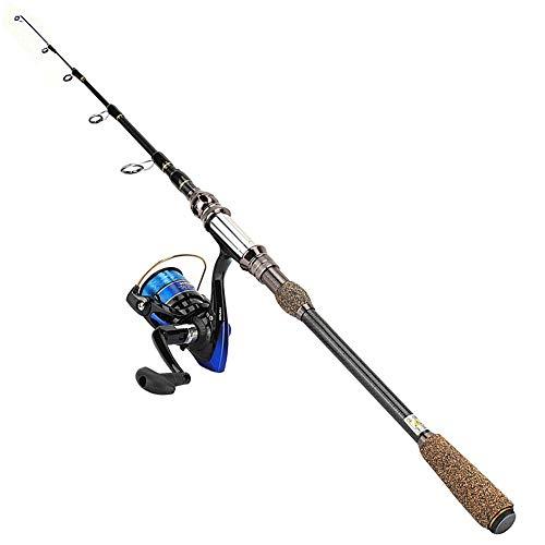 Canna da Pesca Telescopica in Fibra di Carbonio Leggera per Pesca All'Aperto(1.8m)