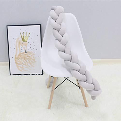 Baby Nestchen Bettumrandung Handmade Plüsch Geflochtenen Krippe Stoßstange Kindergarten Wiege Dekor Kleinkind Schlaf Stoßstange, 400CM, Grau