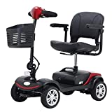 Foldable Mobility Scooter 4-Wheel Sport Heavy Duty Long Range Automatic for Adults, Electric Wheelchair with seat, Large, 2pcs 12Ah Battery(Red+Black)