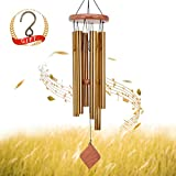 SuninYo Wind Chimes Outdoor,30 inches Amazing Grace Wind Chimes with S Hook(6 Tubes,Golden)