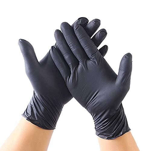 Guanti in nitrile usa e getta neri 20 pezzi XL, guanti per esami in nitrile senza polvere e senza...