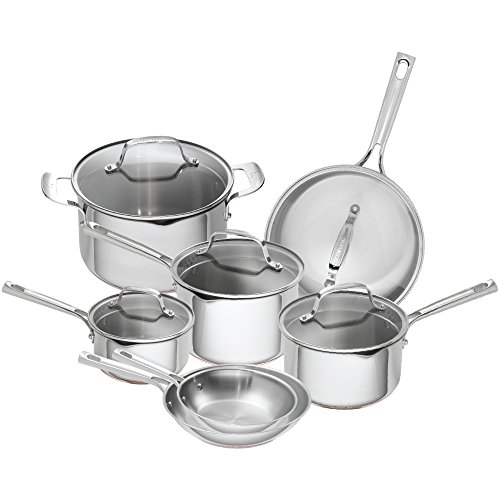 Emeril Lagasse 12 Piece Stainless Steel Cookware Set With Copper Core, Induction Compatible, Dishwasher Safe, Silver