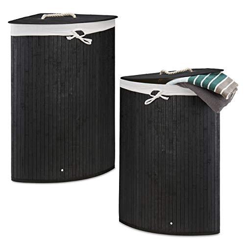 Relaxdays 2 x Eckwäschekorb im Set, Wäschetrennsystem aus Bambus, Wäschesammler mit herausnehmbarem Wäschesack, je 64 L, schwarz