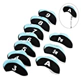 MUXSAM 10 Pieces/Set Golf Club Iron Head Covers Neoprene 13.2cm x 6.2cm-Black Light Blue with Numbers