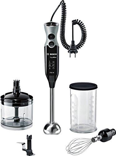Bosch MSM67170 ErgoMixx Frullatore a Immersione, 750 W, 1 litro, 50 Decibel, Plastica, Nero/Grigio