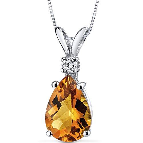 Peora Citrine with Genuine Diamond Pendant in 14K White...