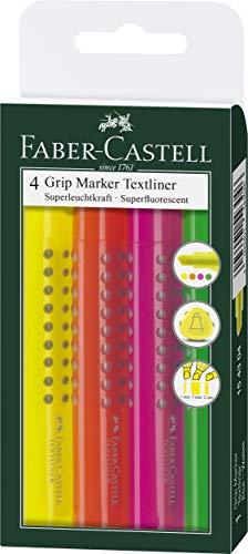 Faber-Castell 154304 - Textmarker GRIP TEXTLINER 1543 1-5 mm, 4er Etui, Inhalt: je 1x gelb, orange, rosa und grün