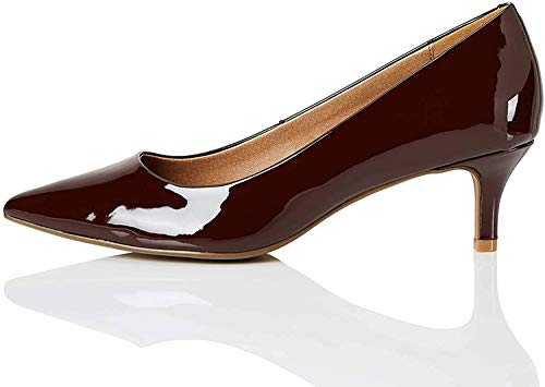 Marca Amazon - find. Kitten Heel Court Zapatos de tacón con Punta Cerrada, Braun (Chocolate (Nude), 37 EU