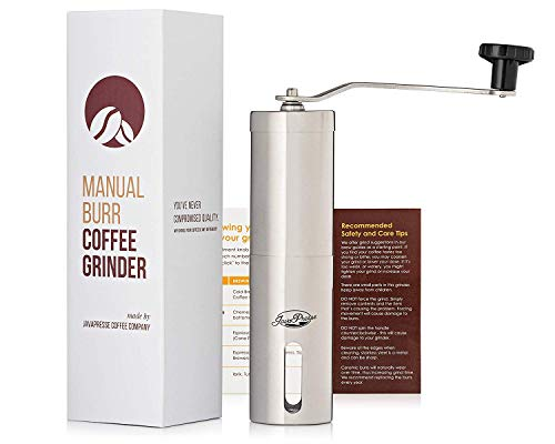 JavaPresse Manual Coffee Grinder with Adjustable Setting - Conical Burr Mill & Brushed Stainless Steel Whole Bean Burr Coffee Grinder for Aeropress, Drip Coffee, Espresso, French Press, Turkish Brew 4