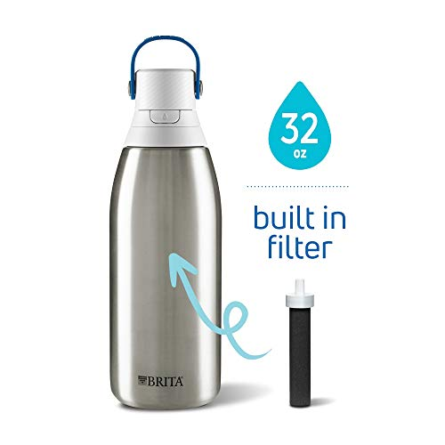 Brita Stainless Steel Insulated Water Bottle with Filter, 32 oz
