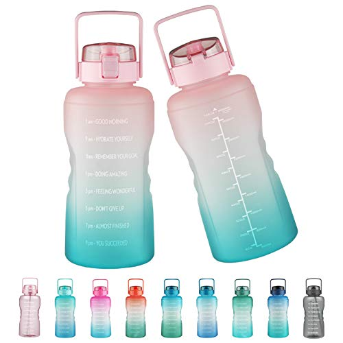 Justfwater Botella de agua sin BPA con marcador de tiempo y