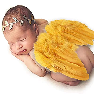 """Size: Baby Wing's Width -5.9"""", Length - 7.8"""" Package Listing:1 x Gold Baby Wing, 1 x Gold Leaf Headband. Design: Cartoon Christmas Santa style handmade crochet beanie hat clothes design, very cute and attractive.Unisex design makes it suitable for bo..."""