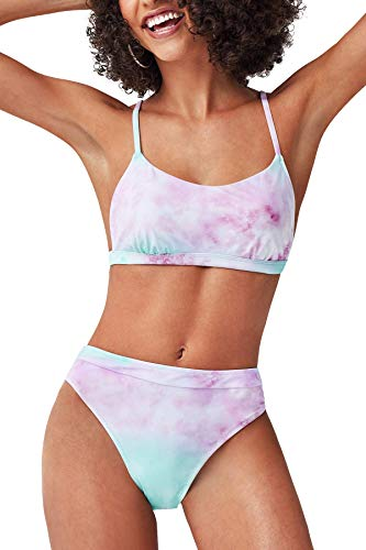41XX6IE+JaL. SL500 Design: Purple Blue Tie-dye Bikini Top with Adjustable Shoulder Straps. High Waisted Tie-dye Bikini Bottom. About Cup Style: With Removable Padded Cups The Pattern is One of a Kind - The Exact Pattern You Receive Will Be Slightly Different Than the One Shown. Garment Care: Regular Wash. Recommend with Cold Water. Do not Use Bleach. Do not Tumble Dry.