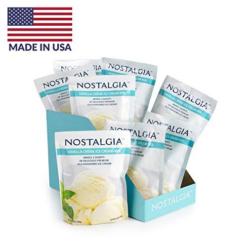 Nostalgia ICP825VAN8PK Premium Vanilla Creme Ice Cream Mix, 8 oz) Pack, Makes 16 quart Total