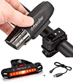 Cycleafer Éclairage Vélo Bicyclettes VTT USB Rechargeable Avant & Arrière Ultra Puissant Lumineuses Parfait pour Augmenter la Sécurité des Cyclistes la nuit Résistance à l'eau Facile Installer