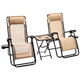 Amazon Basics Textilene Outdoor Adjustable Zero Gravity Folding Reclining Lounge Chair with Side table and Pillow - Pack of 2, Tan