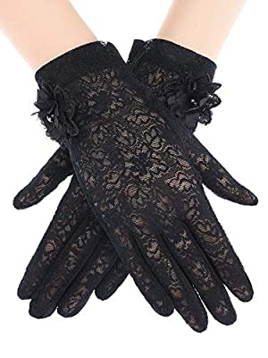 Material: made of nylon and spandex, which is silky and smooth with delicate floral pattern, looks lovely and fabulous; Elastic wrist comfortably fit most ladies Spring and summer gloves: these gloves can protect your hands from sun exposure in the s...